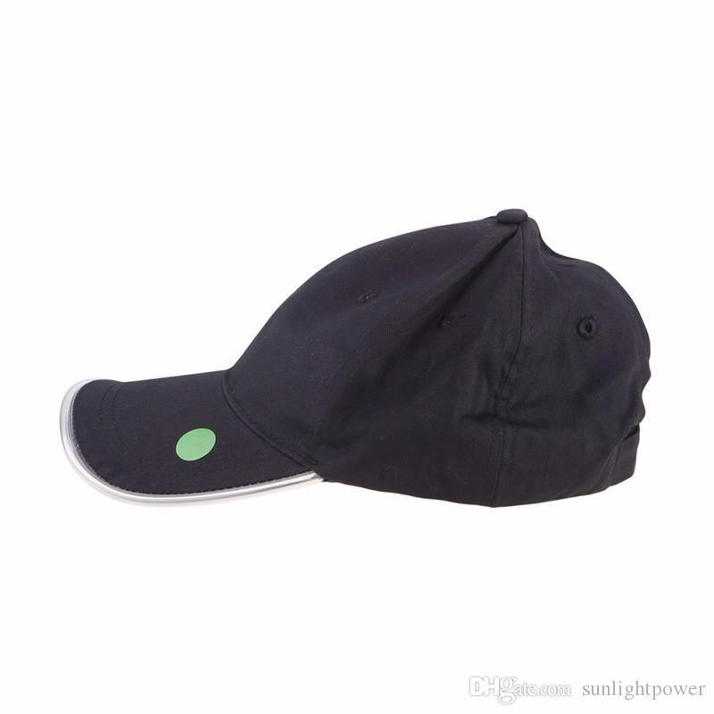 es para elegir moda LED iluminado resplandor club fiesta deportes atlético negro tela viaje sombrero gorra venta caliente