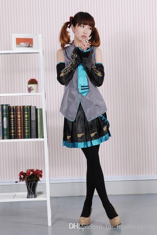 アニメヴォーカロイド初音ミクコスプレコスチュームハロウィーン女性女の子ドレスフルセット制服と多くのアクセサリー