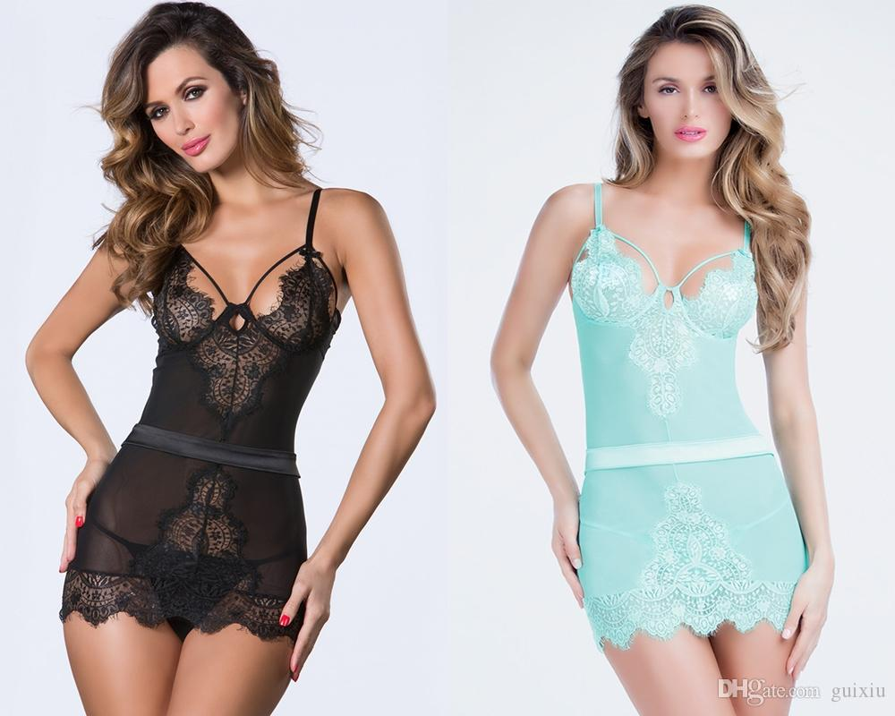 Plus Size Two-piece Erotic Lingerie Eyelash Lace Chemise Women ...