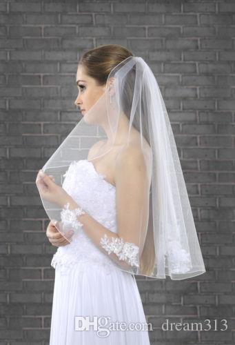 Новый один слой длиной локоть белая слоновая кружевная аппликация свадебная вуаль с расческой Bridal вуаль 241