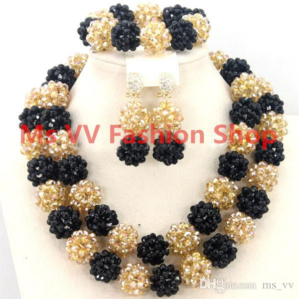 Latest Luxury Red/Champagne Gold African Beaded Jewelry Set Nigerian Wedding Crystal Beads Necklace Set Free Shpping