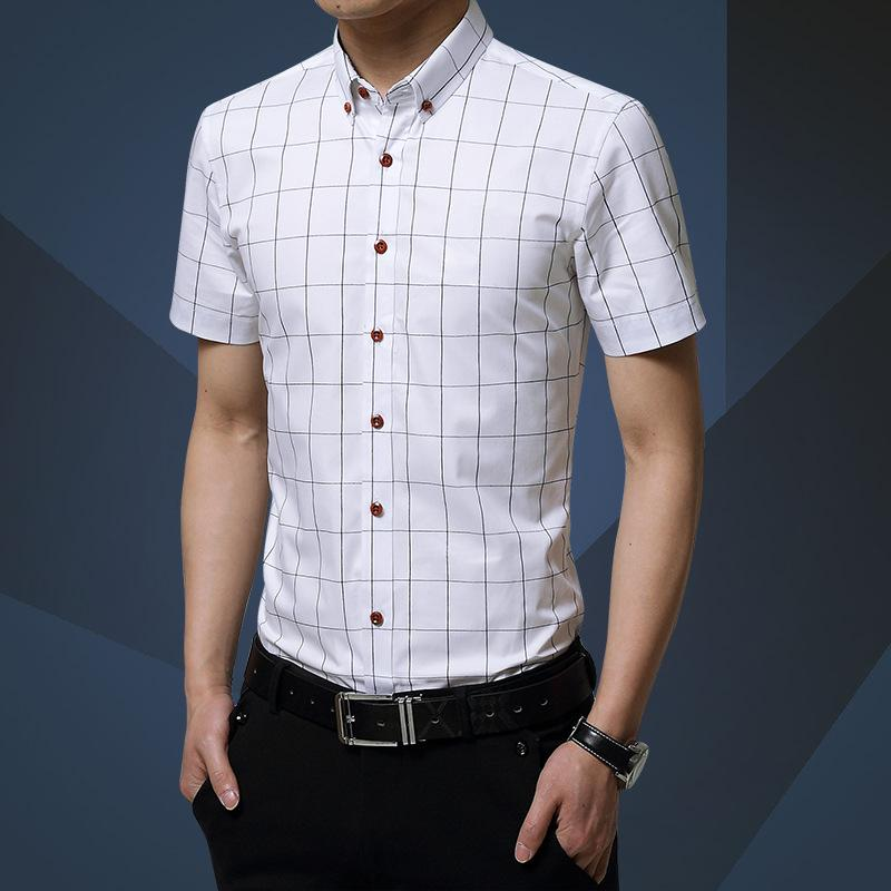 81e69436f8d Wholesale- New Plaid Shirt Men Fashion Casual Short Sleeve Turn-Down ...