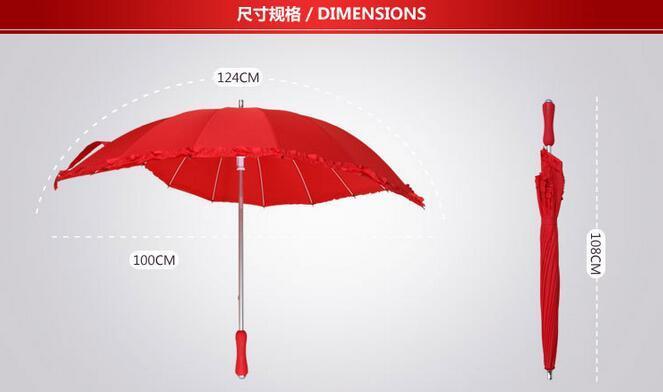 Parasols de mariage rouge en forme de coeur Parasol Mariage parapluie de mariage parapluie à long manche