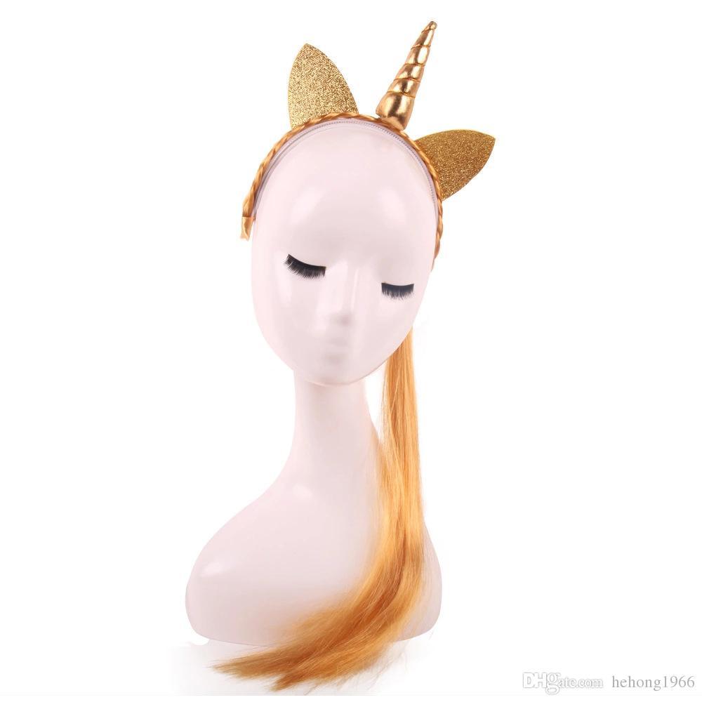 Unicorn Headband Halloween Party Cosplay Supplies Fashion Wig Braid Cat Ears Hair Band Gift For kid 5 5qy KK