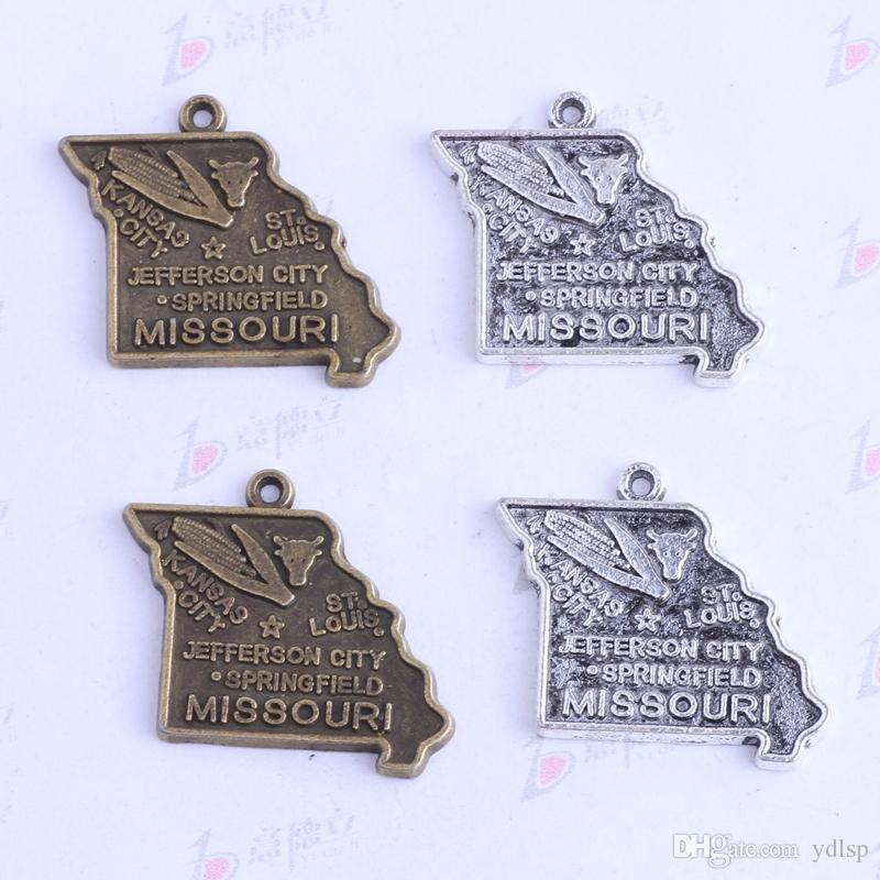 19.8 * 17.5mm plata antigua / bronce MISSOURI JEFFERSON CITY maíz colgantes irregulares Encantos DIY joyería irregular en forma collares 3414