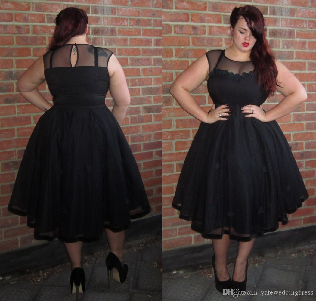 Modest Black Homecoming Dresses Plus Size Sheer Neck Short Sleeves ...