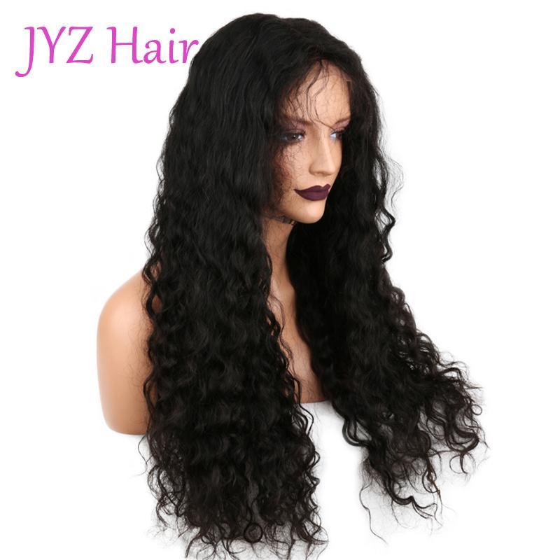 100% Malezya Perulu Brezilyalı Virgin İnsan Saç Ücretsiz Nakliye Stokta 8-24 inç Derin Dalga Tutkalsız Tam Dantel Peruk / Dantel Ön Peruk