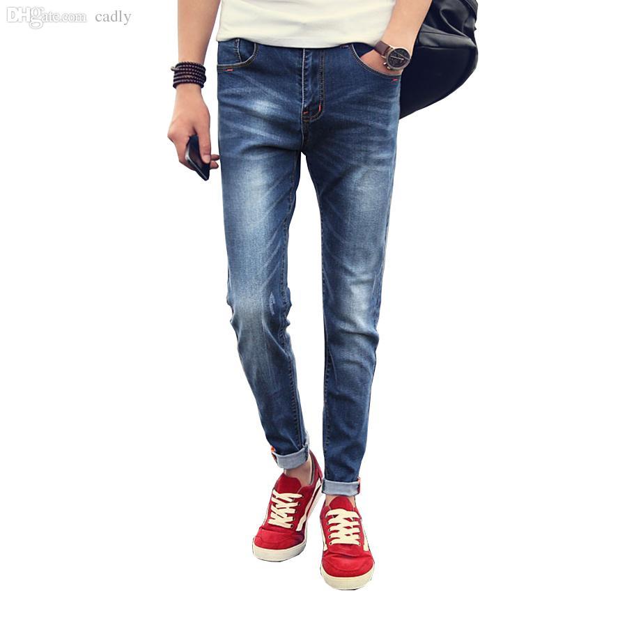 29121ed039e 2019 Wholesale Mens Jeans Skinny Jeans MenWhite Jeans Men Cuffs Straight  Casual Denim Pants Joggers Pantalones Vaqueros Hombre Plus Size From Cadly