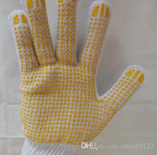 700G 10 Gauge Cotton Yarn PVC Glove One Side Dotted PVC Cotton Glove For Hand Protection Protective Glove