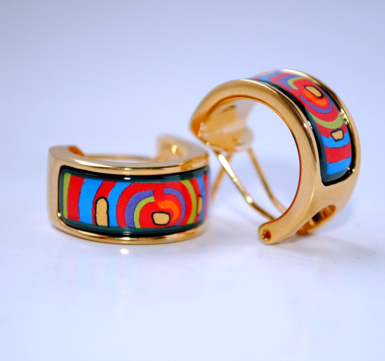 Серия жизненного цикла серьги обруча 18K позолоченные эмалевые серьги для женщин высокое качество серьги обруча дизайнерские ювелирные изделия