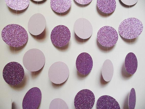 Lavender Party Decorations Paper Garland Glitter Dot Garland