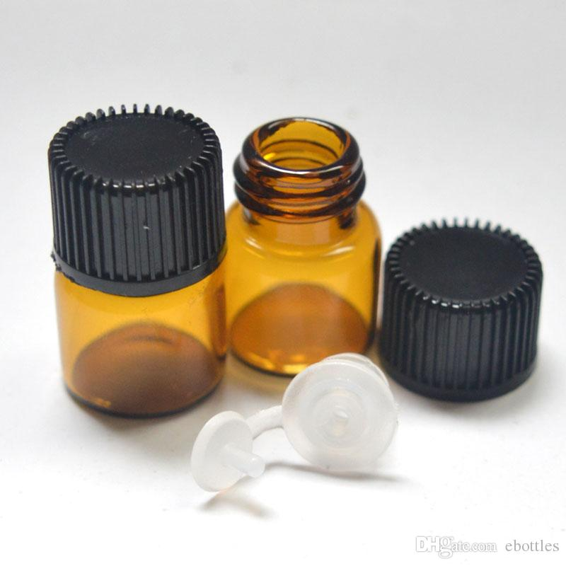 Empty 1ml 1/4 dram Small Glass Amber Bottle With Pull Orifice Rducer Screw Cap Mini 16*22mm Essential Oil Clear Bottle