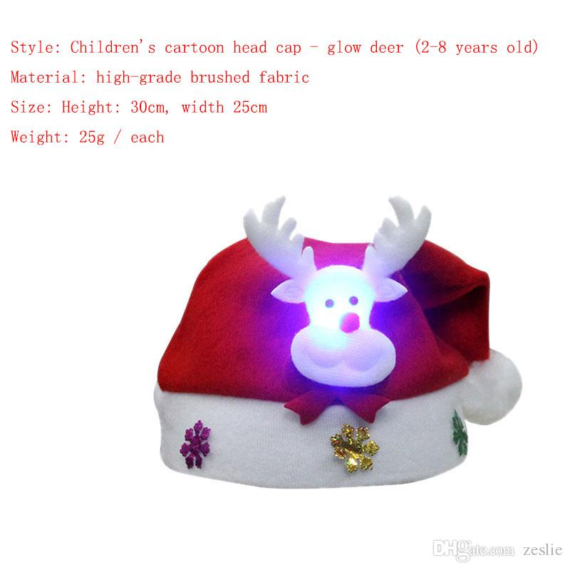 luminous multi style festival hat christmas red white cute snowman elderly reindeer decoration adult children christmas hat decorations childrens christmas