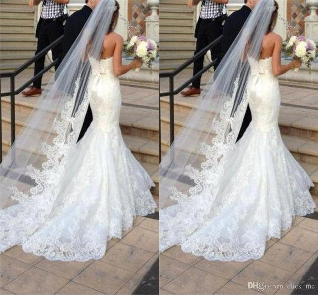 White Wedding Dress Under 500: Princess Wedding Veils Cheap Long Lace Bridal Veils One