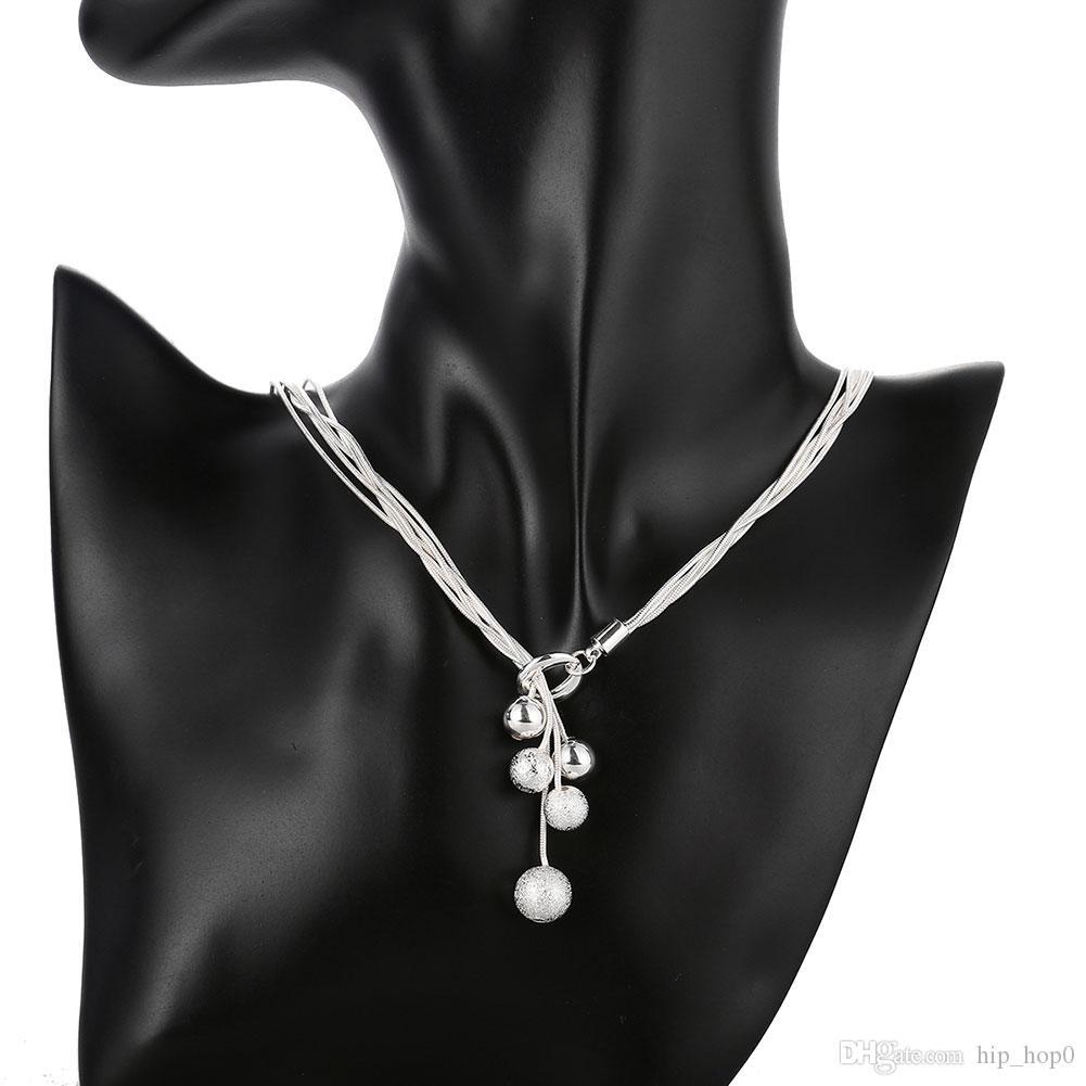 아름 다운 925 스털링 실버 도금 된 작은 리틀 비즈 체인 펜 던 트 목걸이 5 LineBeads 매력 여자 패션 쥬얼리 파인 레이디 선물