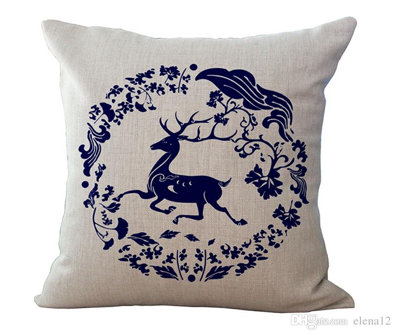 Chinese blue and white style linen cotton decorative sofa cushion cover Living room&Car pillow cases 240428