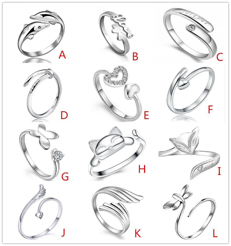 925 Ayar Gümüş kaplama Jewerly Yüzükler Kalp Yunuslar Yusufçuk Wings Melek Aşk Tilki Kelebek Açılış Ayarlanabilir Yüzük Kadınlar Için