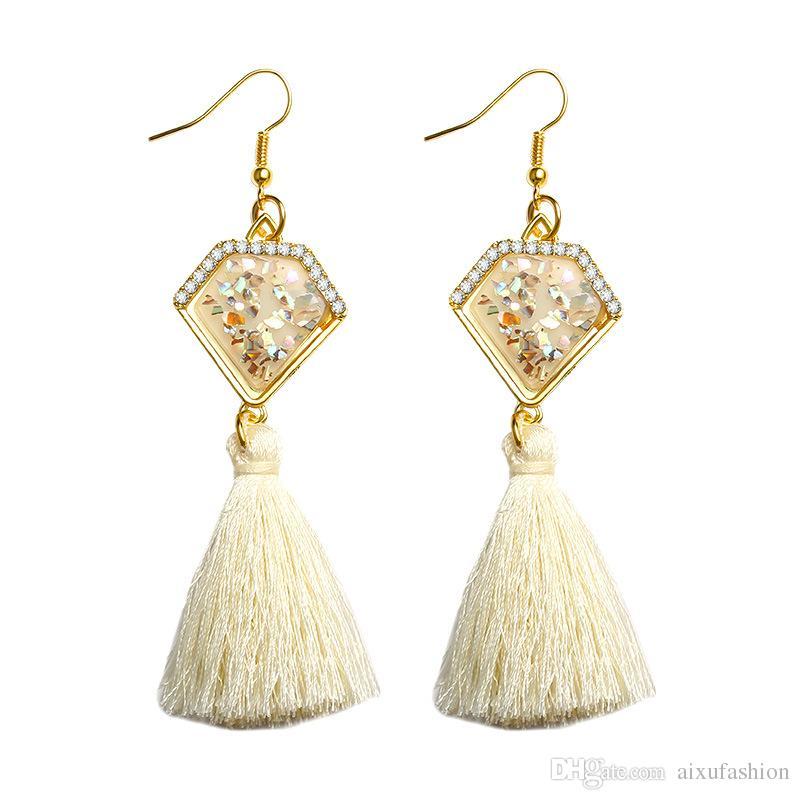 2017 neue Trendy Fransen Erklärung Ohrring Shell Bunte Mode Quaste Tropfen Baumeln Ohrringe Ethnische Metall Frauen Schmuck