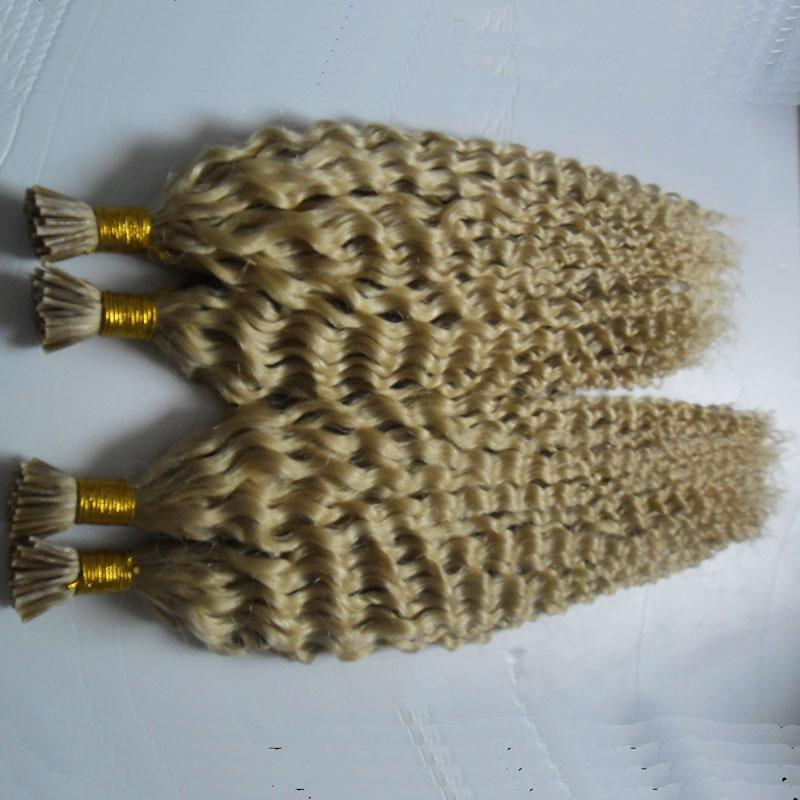 Curly Brazilian Hair Extensions 100g/strands 2 bundles Keratin I Tip Hair Extensions Kinky Curly Human Hair Extensions
