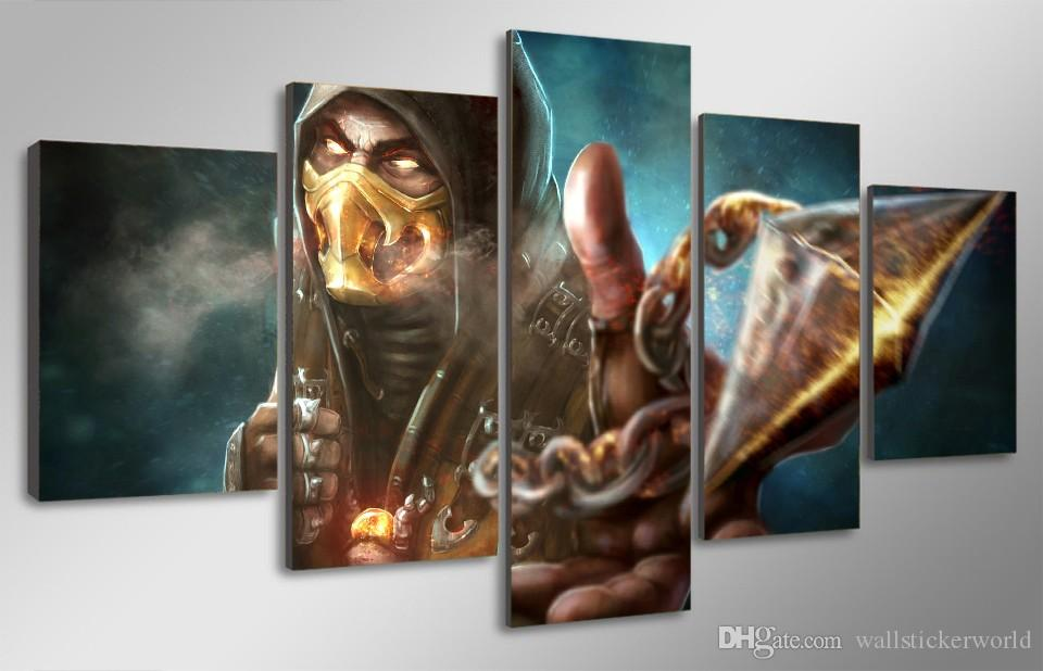 Framed Printed mortal kombat x scorpion Painting Canvas Print room decor print poster picture canvas /ny-4191