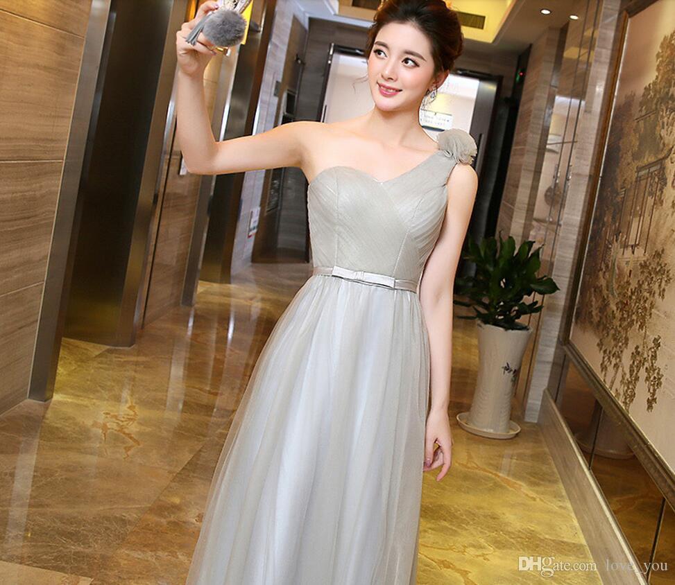 새로운 패션 Tulle one-shoulder 레이스 최대 신부 들러리 드레스 프릴 A 라인 긴 드레스 저렴한