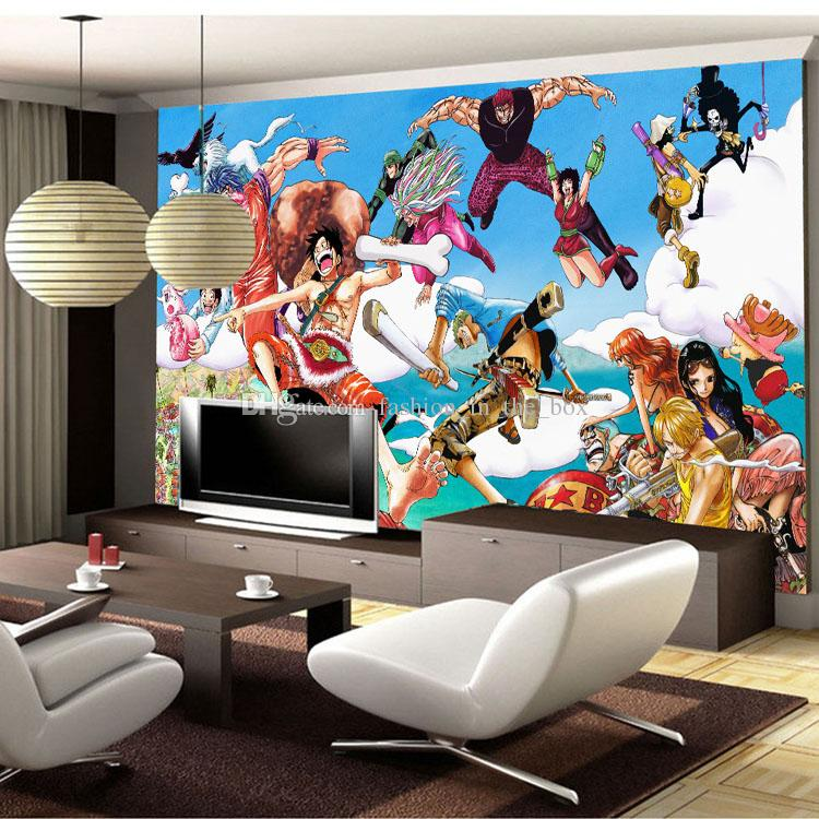 Custom 3D Wallpaper One Piece Photo Wallpaper Japanese Anime Wall Murals  Cartoon Kids Bedroom Nursery TV Backdrop Wall Room Decor Blue Sky Retro  Wallpaper ...