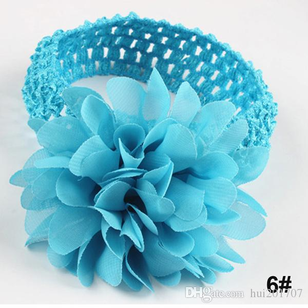 Fashion Baby Headbands Pretty Floral Hair Ribbons Kids Headwear Accessories Chiffon Flower With Soft Elastic Crochet Hair Band ten colors