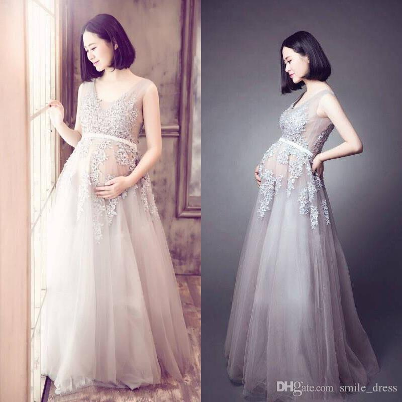 Discount Champagne Maternity Wedding Dresses Empire Waist Lace ...
