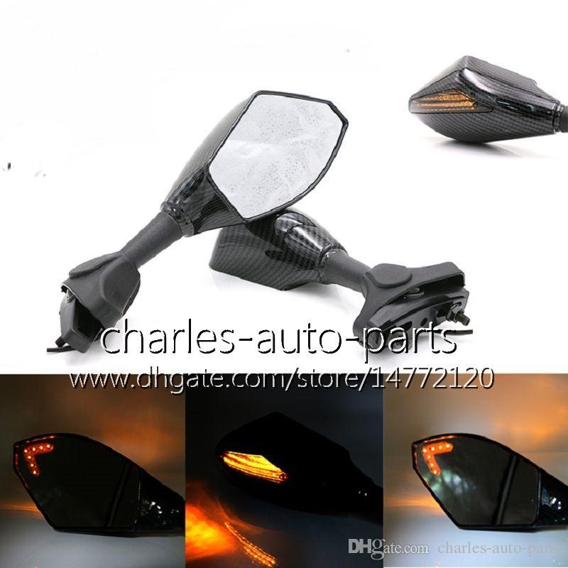 Uniwersalny Motocykl LED Włącz Lusterka Sygnalizacyjne Włącz Light Lustro Czarny Węgla Oświetlenie Oświetlenie dla Suzuki GSXF600 GSXF750 Katana Hayabusa SV650S