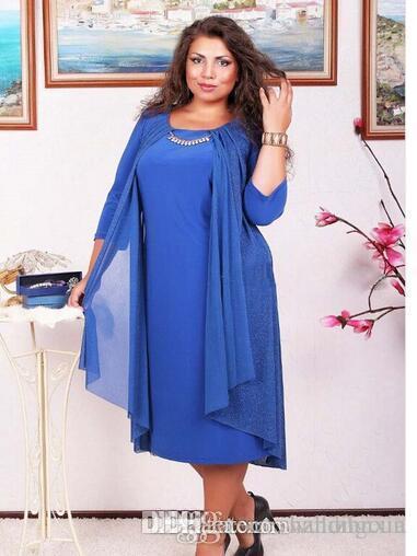 Big Size Women Dress Loose Large Size Lady 3/4 Sleeve False Women ...