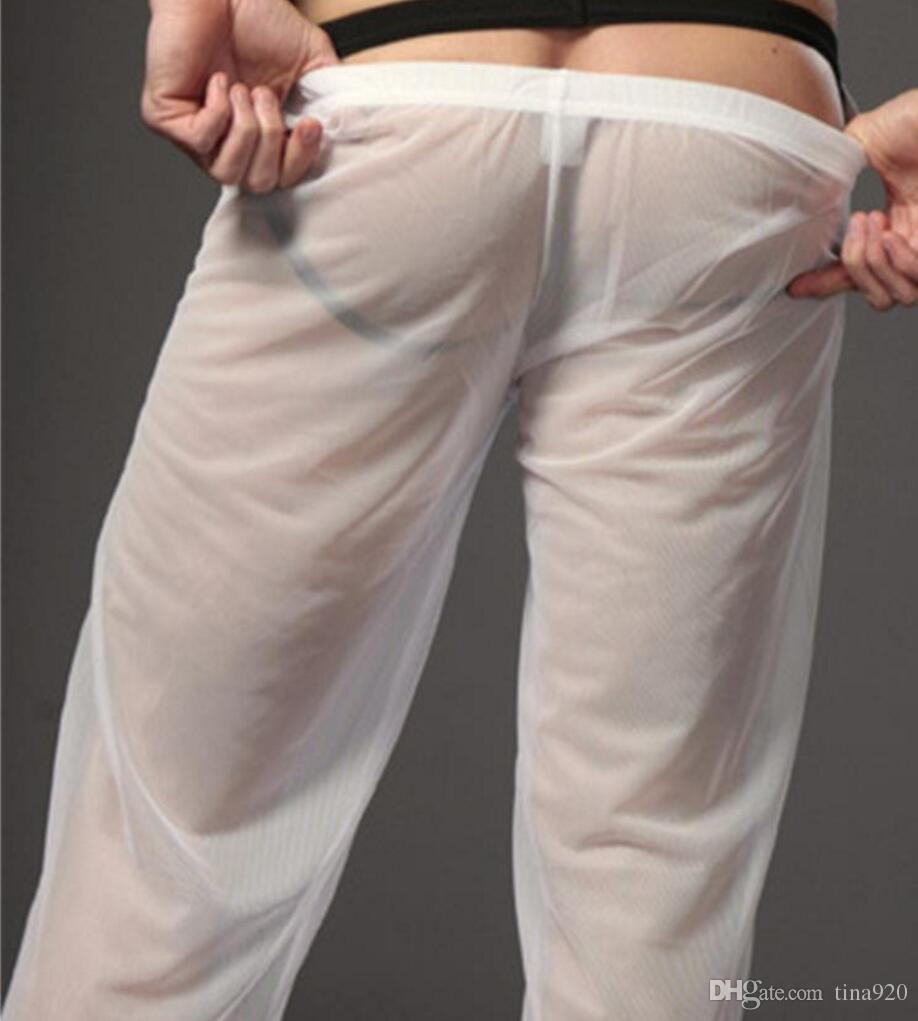 1 pecs-Artı Boyutu M-XL Yeni 2017 Iyi Guality Seks Erkekler Pijama Erkekler Yumuşak Rahat Örgü Gevşek Pijama Pantolon See Through erkek ...