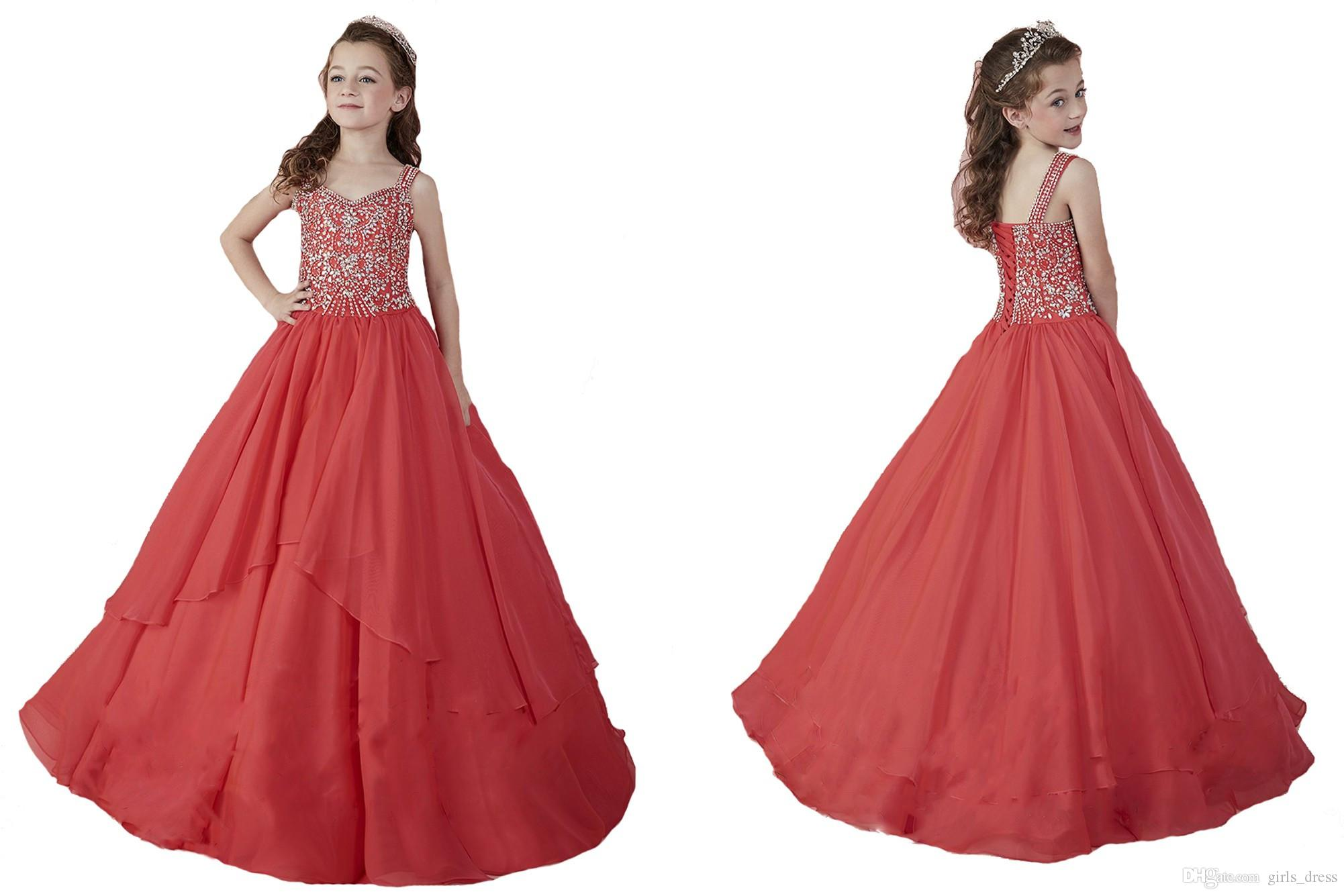 da21855f692 Flower Girls Pageant Dress With Straps Beadings Glitz Little Kid Ball Gowns  Wedding Party Junior Teens Dresses Girls Pretty Dresses Infant Dresses  Special ...