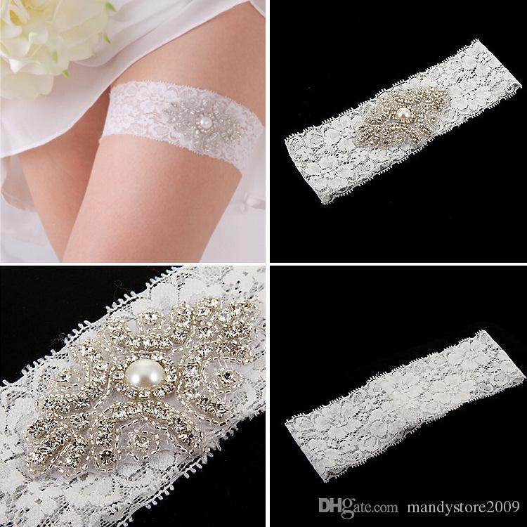 Venda quente Feminina Nupcial Garter Branco Matching Bule Mancha Elástica das Mulheres Garter Para O Casamento Agradável Artesanal de Strass TYC005-8 Frete Grátis