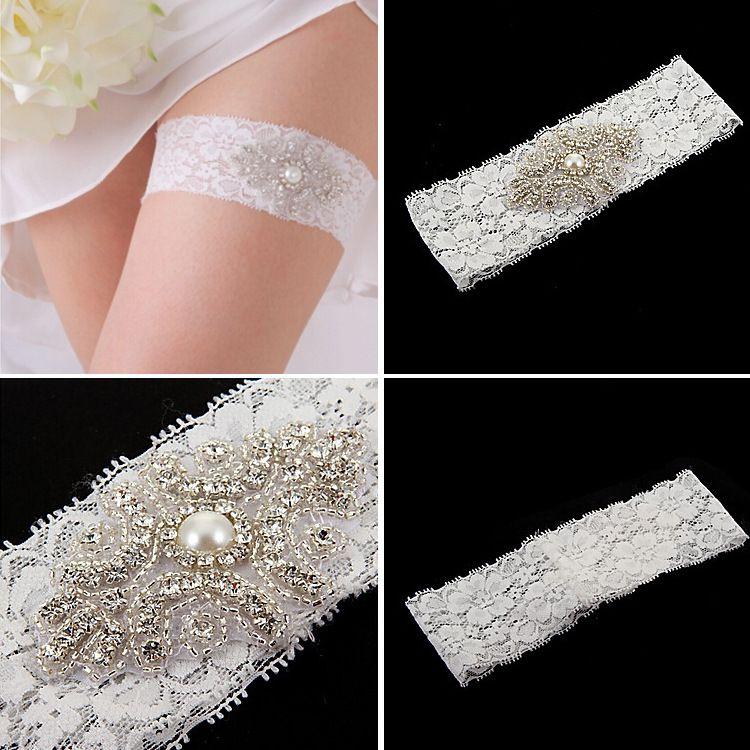 Wedding Garter Ivory Bridal Garter Ivory Lace Garter Pink Rolled Rosette and Crystal Rhinestone TYC005-5