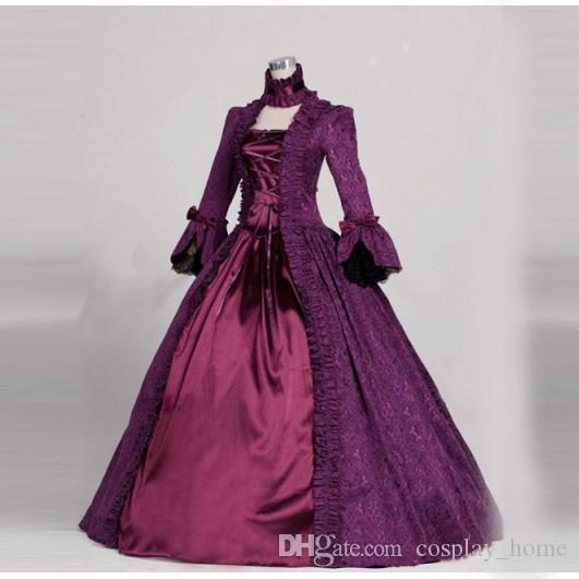 Best Quality Purple Victorian Dress Gothic Brocade Ball Gown Costume ...