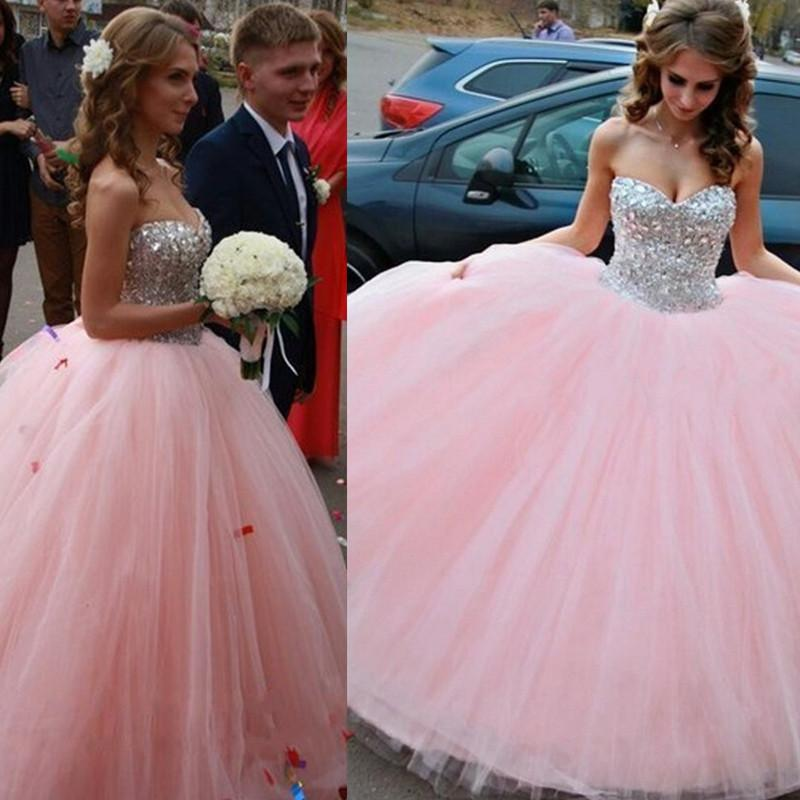 Quinceanera Ball Gowns Dresses 2018 Pink Sweet 16 Dress Tulle Beaded