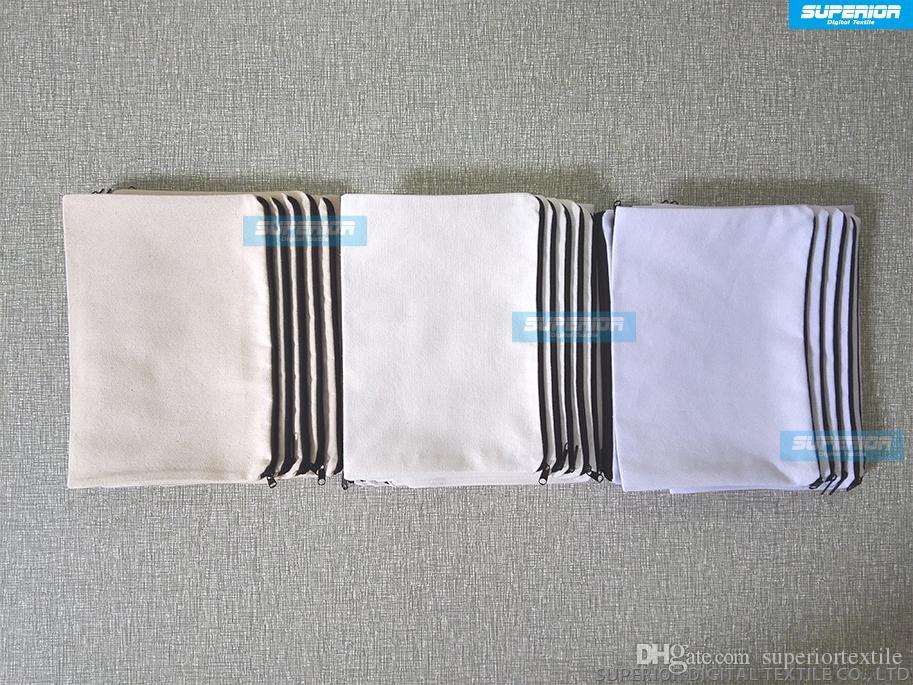 / 7x10in 12oz Pur Coton Porte-Monnaie Avec Doublure Assortie Plain Wallet Simple Avec Nylon Zip Blanc Coton Toile Sac Pour PrintPaint