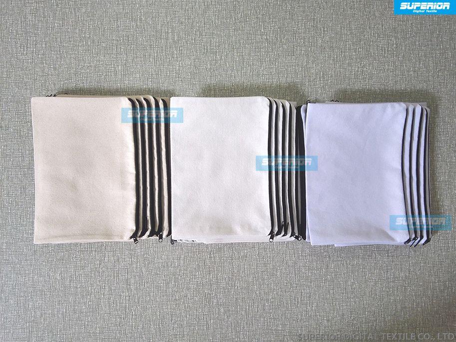 Simple Fashion Makeup bag Handbag Zipper Pouch Coin Purse White Natural 12oz Pure Cotton Canvas With Black Zipper No Lining