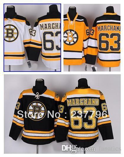 newest d9664 93e41 New Brad Marchand Jersey #63 Boston Bruins Ice Hockey Jerseys Finals Home  Color Black White Yellow Good Quality 100% Stitched