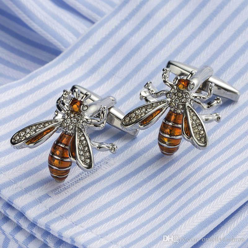 Hombre de lujo Gemelos camisa traje traje Crystal Bee Animal Gold Filled Cufflinks El mejor regalo del hombre al por mayor en el envío libre a granel