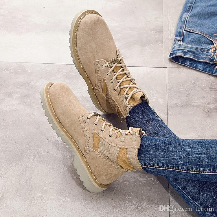 Genuine Leather Desert boots For women students High-top leather military shoes women's ankle Motorcycle boots. XDX-039