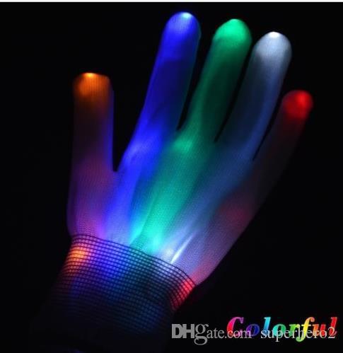 Hot Club Party Dance Halloween blinkende LED Handschuhe Finger leuchten Glow Handschuhe Kostüm Licht Show Weihnachten festliche Leistung Requisiten