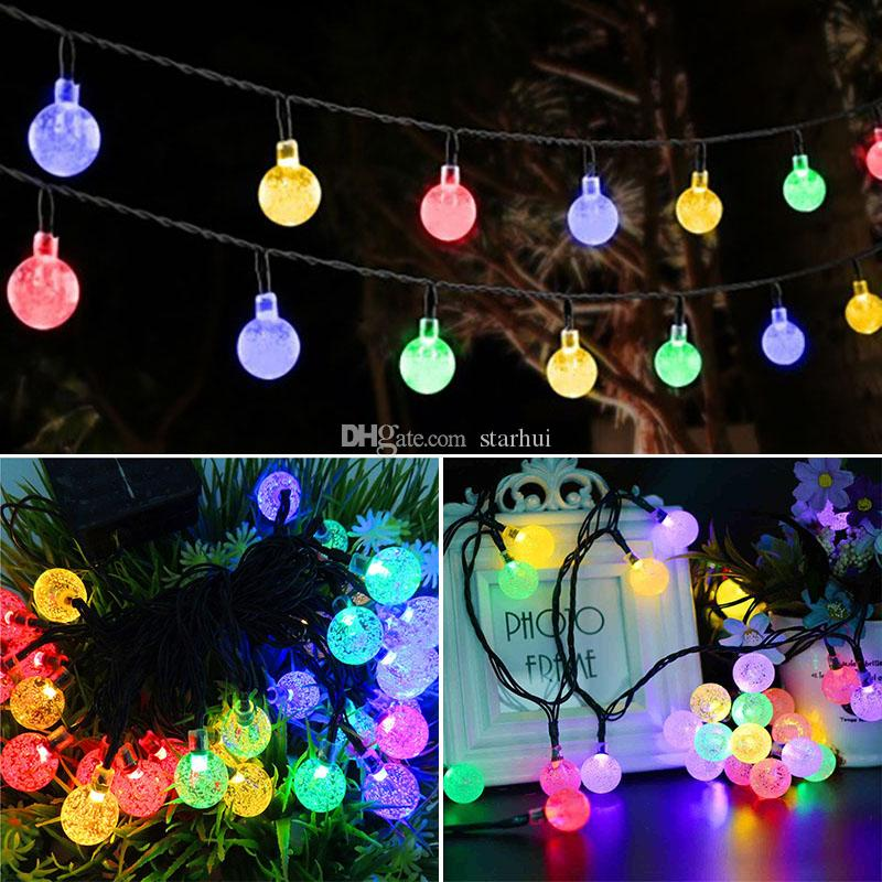 led crystal ball solar powered light halloween christmas decorations 30 lights home outdoor garden patio party supplies wx9 35 - Solar Powered Outdoor Christmas Decorations