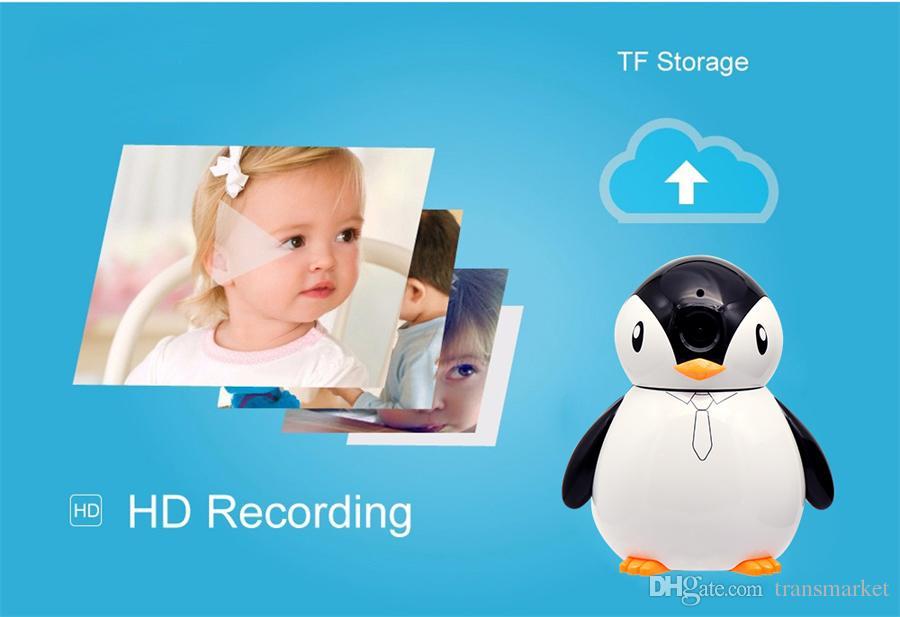 Penguen Bebek Monitörü IP kamera HD 960 P 1.3mp Tam Görünüm CCTV Mini Kamera Kablosuz Ağ Ev Güvenlik WiFi Kamera Alarm Ücretsiz Dhl