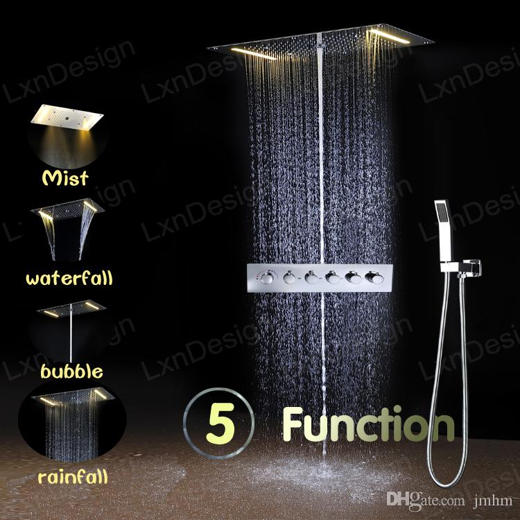 2018 Led Waterfall Shower Systems 304 Sus Mirror Finish Embed Ceiling  Shower Head Led Lighting Shower Faucet With Thermostatic Mixer From Jmhm,  ...