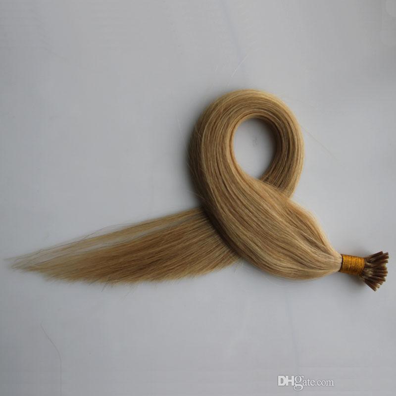 #16 Golden Blonde keratin stick tip hair extensions Non-Remy 100% Human Hair 50g 50s Keratin Human Fusion Hair Nail I Tip