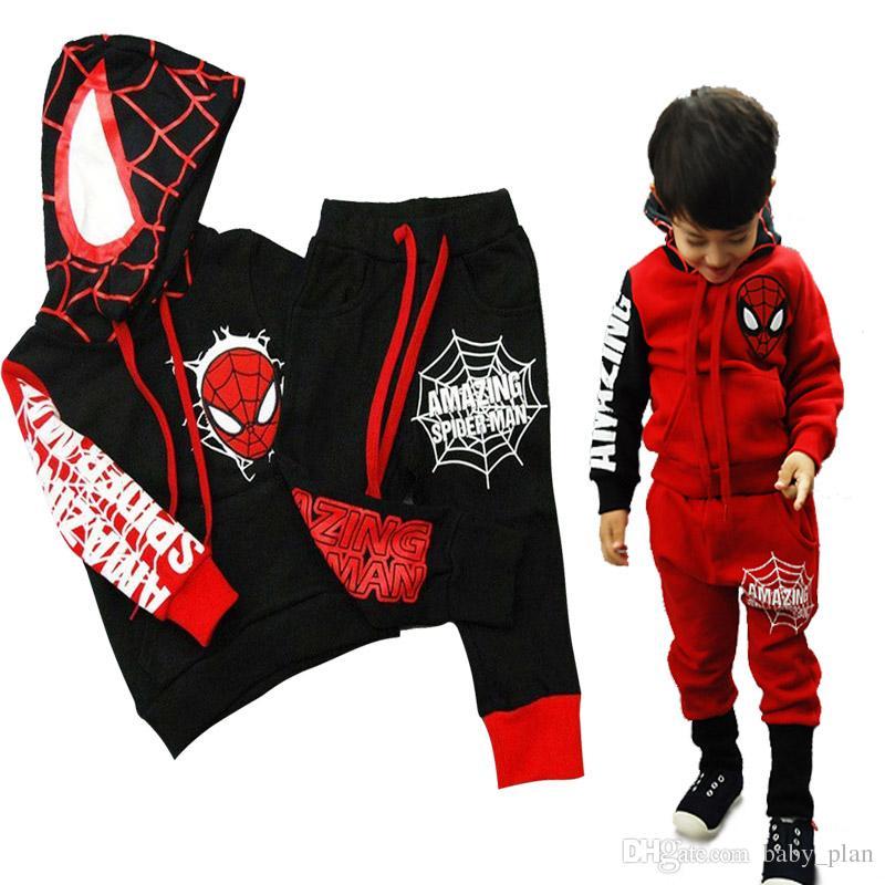 197dd0c5 Cartoon Children Batman Clothes Sets Boys Spiderman Hoodies + Pants 2pcs  Kids Tracksuits Boys Sport Suit Toddler Boys Halloween Clothing