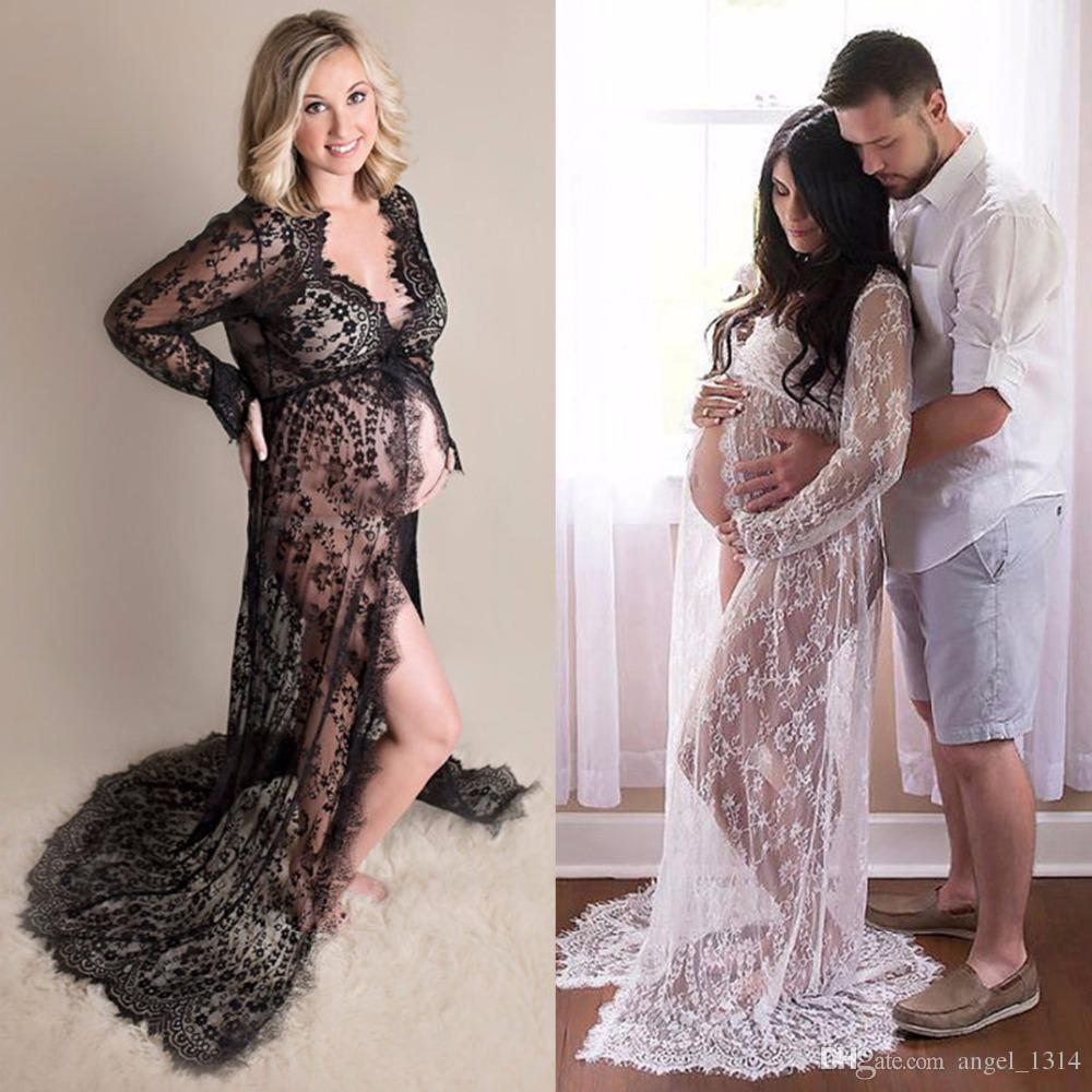 0408ea5523e64 2019 Pregnant Women Dresses 2017 Front Split Lace Vestidos Maternity  Photogrpahy Dress Fashion Mama Gown For Photo Shoot XXL From Angel_1314, ...