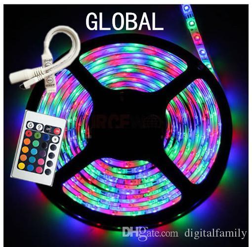 Tira de luz LED RGB 3528 SMD 50M 50 metros 10 rollos 300 leds Impermeable flexible + 24 teclas IR Control remoto + 12V 2A Adaptador de corriente Por DHL