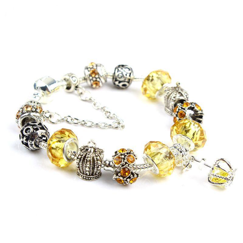 18 19 20 21 CM Charm Bracelet 925 Pulseras de Plata Para Las Mujeres Royal Crown Bracelet Purple Crystal Beads Diy Joyería regalo de Navidad